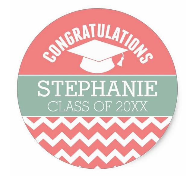 3 8cm congratulations graduate personalized graduation classic round sticker