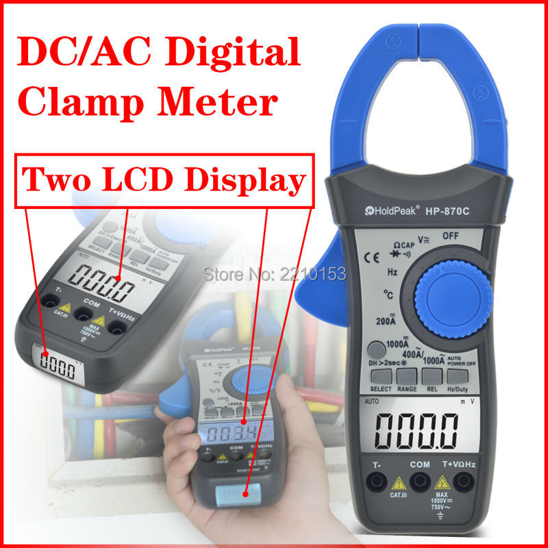 HoldPeak DC/AC Auto Range Digital Clamp Meter Frequency Duty Cycle Relative Value Dual Display Multimeter HP-870C mini multimeter holdpeak hp 36c ad dc manual range digital multimeter meter portable digital multimeter page 2