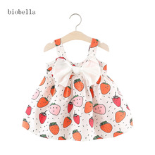 Sweet Girls Dresses For Fuit Print Girls Vestidos Infantis Summer Sleeveless Big Bow Decor Newborn Baby Dress Princess Dress