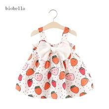 Sweet Girls Dresses For Fuit Print Girls Vestidos Infantis Summer Sleeveless Big