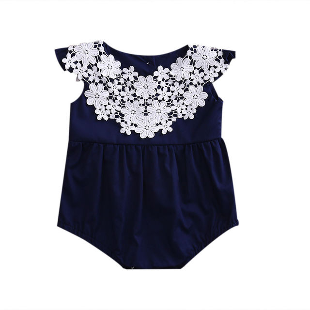 b161483039f Newborn Baby Girl Lace Stitching Clothes Cotton Romper Navy Blue Jumpsuit  Sunsuit Outfits