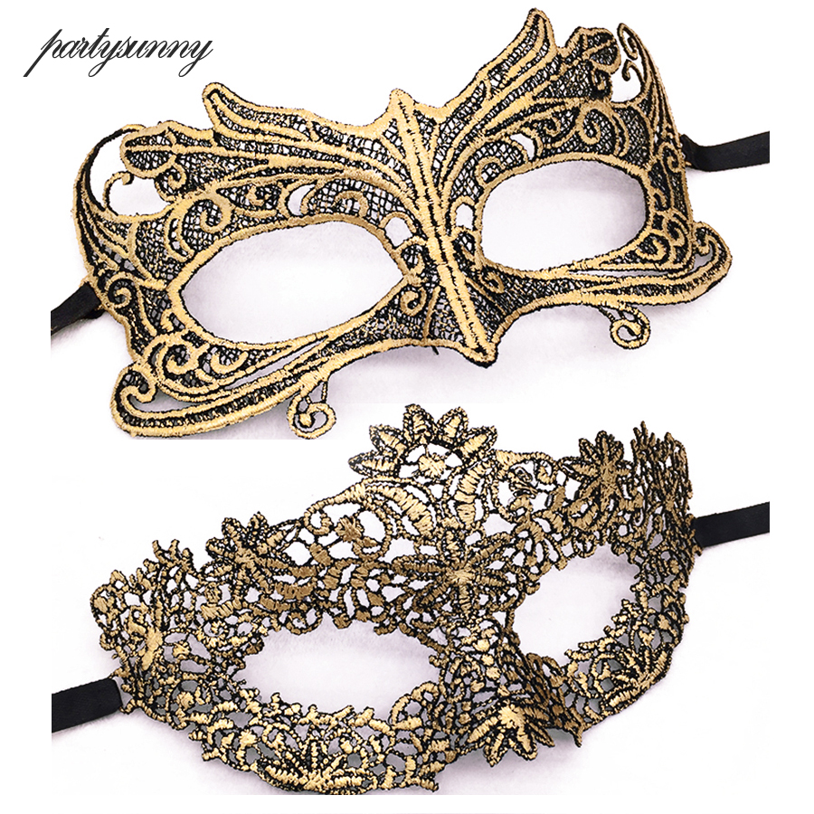 Masquerade Gold Purple Blue Lace Mask Halloween Cutout Prom Party Mask Accessories Sexy Eye Face Mask Venetian Masks Party Favor