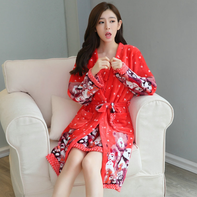 2PCS Sexy Thick Warm Flannel Robes Sets for Women 2018 Winter Coral Velvet Lingerie Night Dress Bathrobe Two Piece Set Nightgown 255