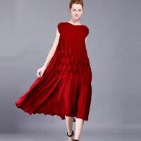 Changpleat Новинка 2017 года летнее платье модные элегантные miяк плиссированные дизайн большой размеры свободные короткий рукав для женщин плать