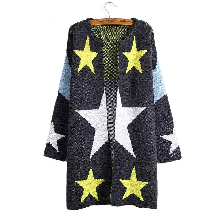 Осень-зима Для женщин с длинным рукавом с принтом звезд длинный кардиган европейских Стиль элегантный карман вязаная верхняя одежда капюшо...