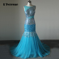 Sexy Backless Mermaid Tulle Crystal Beaded Evening Dresses Real Photo Rhinestone Avondjurken 2016