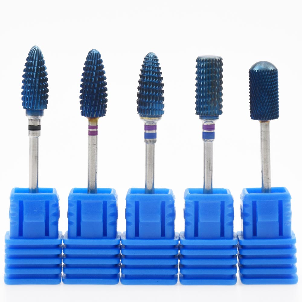 Blue Tungsten Round Flame Nail Drill Bit Carbide Fræsning Cutter - Negle kunst - Foto 3
