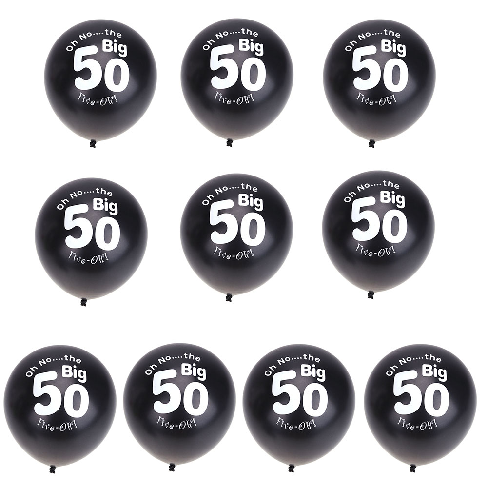 Big happy birthday badges party products party delights - 10pcs 11inch Black 50th Birthday Party Pearlised Latex Printed Balloons Birthday Wedding Anniversary Decoration Party Supplies