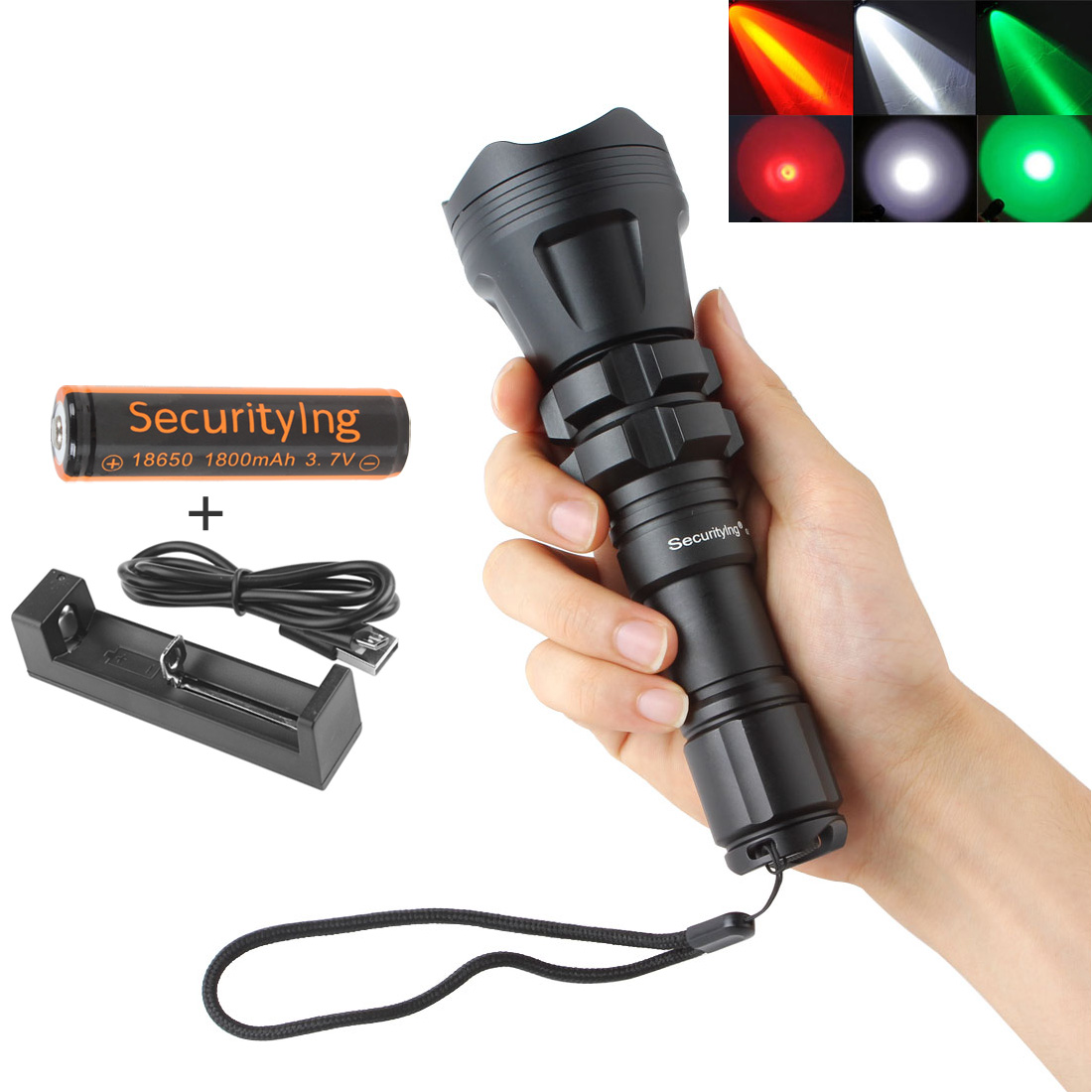 SecurityIng Hunting Flashlight XM-L2 U4 Red / Green / White Led 900LM 5 Modes Zoomable Waterproof 18650 Torch + Remote Pressure fandyfire wf 501b 900lm 5 mode white led flashlight black 1 x 18650