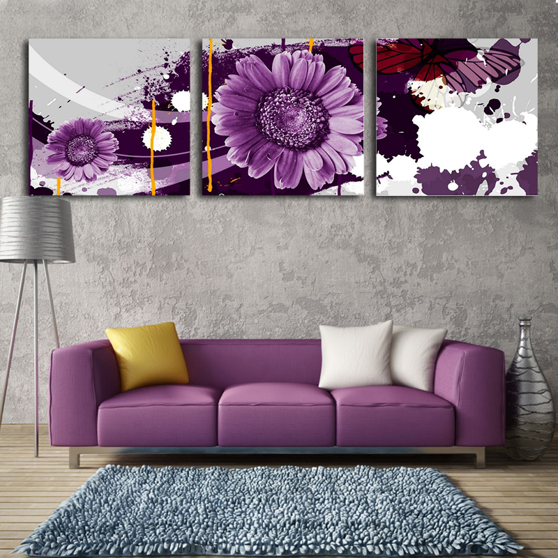 Popular flower canvas painting ideas buy cheap flower for 3 piece painting ideas