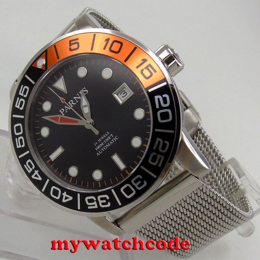 42mm parnis black dial black & orange bezel date miyota automatic mens watch P829 цена и фото