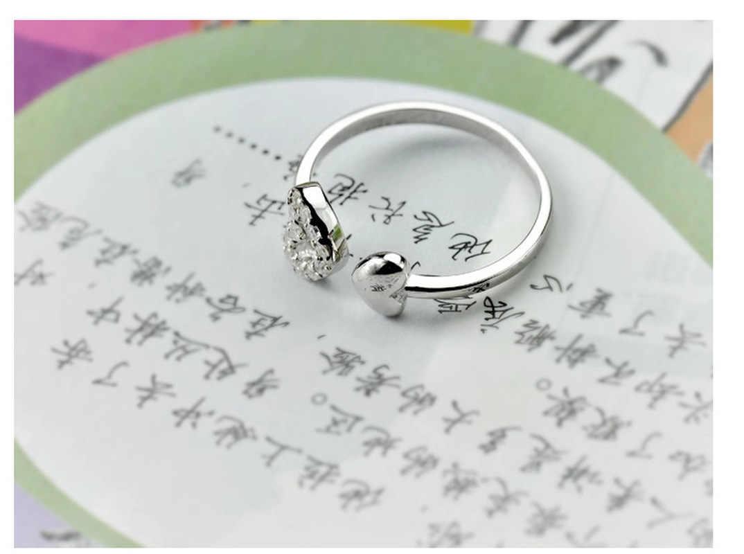 ราคา on Earth ขายเงินชุบออสเตรียคริสตัลแหวนผู้หญิงขนาดขาย 925 หัวใจคู่น่ารักโรแมนติก