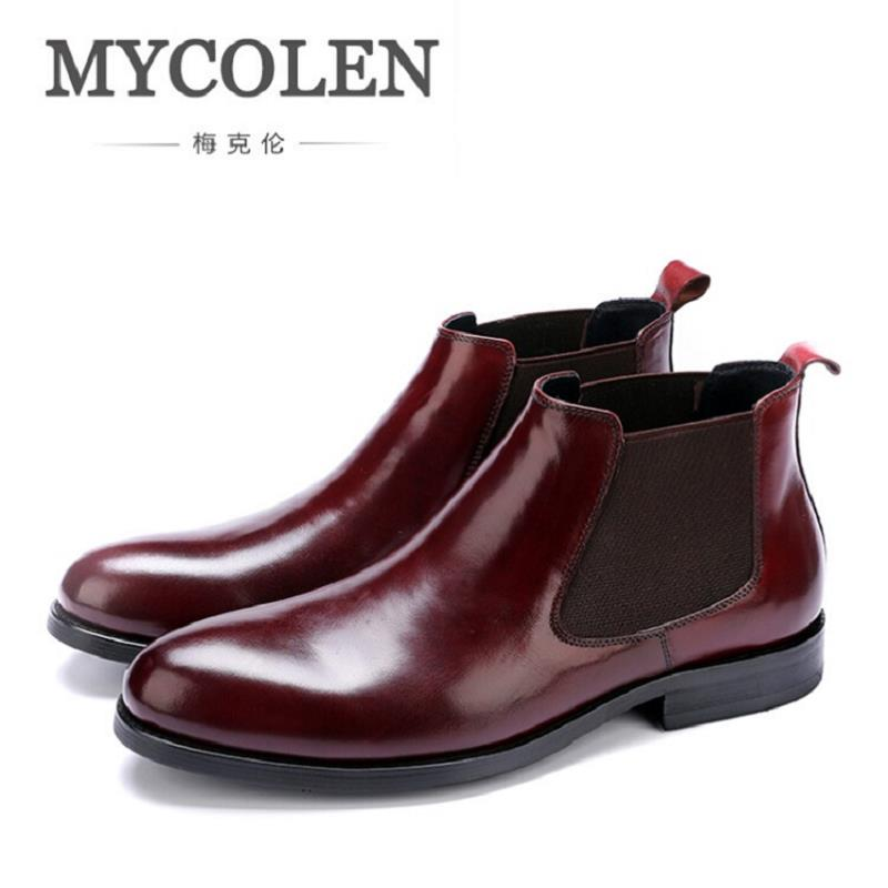 MYCOLEN Brand Boots Breathable Slip On Chelsea Boots Genuine Leather Male Wear Boots Fashion Casual Man Military Shose sapatos