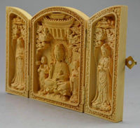 Decorated 100% Boxwood High Difficulty Carved Folding Box Kwan yin Buddha Statue home decoration