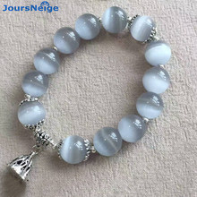 JoursNeige Gray Natural Cat Eye Stone Bracelets Tibetan Silver lotus root Pendant For Women Simple Bracelet Jewelry Wholesale(China)