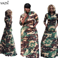 VAZN Autumn New Casual Fashion Style 2018 Women Hooded Full Sleeve Dress Camouflage Maxi Dress Ladies Hollow Out Dress LLS0234