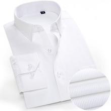 New Arrived Mens shirts Brand Long sleeve striped Man Smart Social Dress Shirts White Blue Splice Male Clothing Big Size 4XL