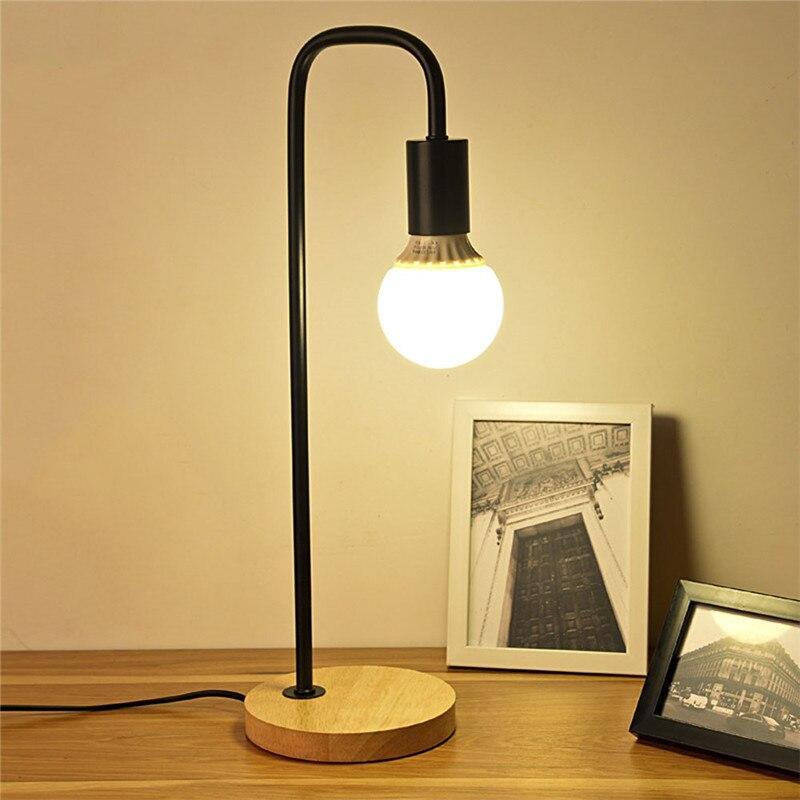 Lámpara de escritorio de madera moderna de estilo nórdico, lámparas de mesa de madera para dormitorio, lámparas de mesa simples de Metal, accesorios de decoración para habitación, iluminación E27 40W