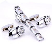 C-MAN Stainless Steel Ellipse Crystal Cufflinks and Tie Clip Clasp Bar Set Brand Gift For Men French Shirt High Quality