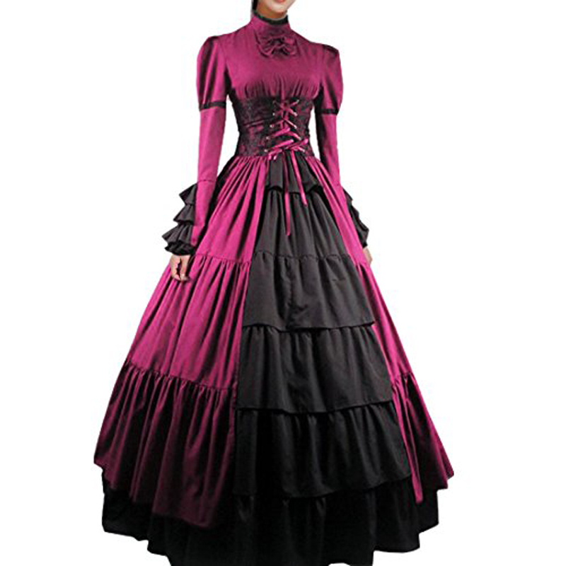 Women Bowknot Stand Collar Gothic Victorian Dress Costumes