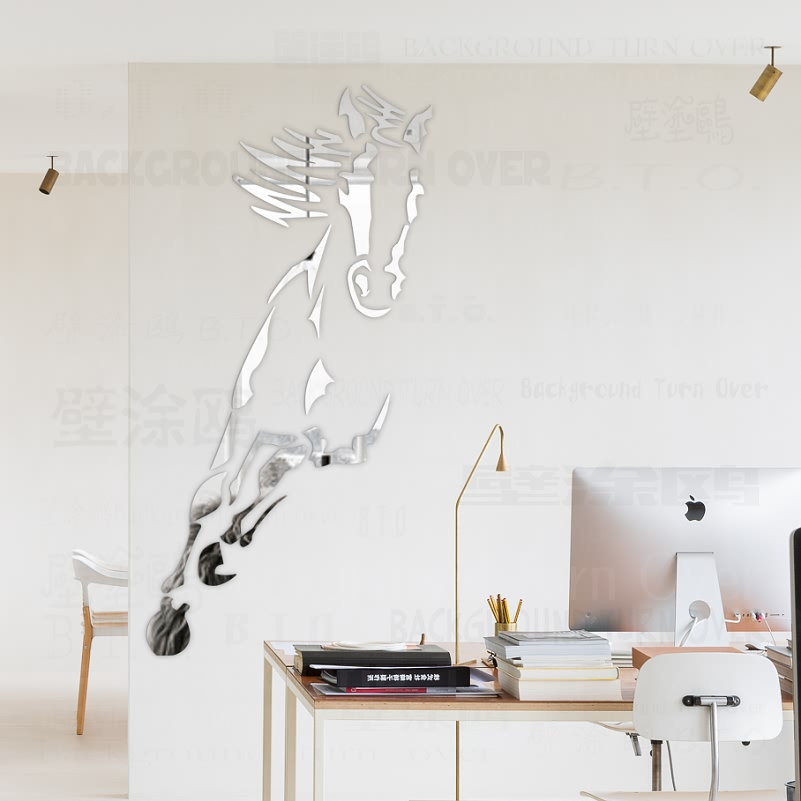 Dekorative Hot Galloping Horse 3D Akryl Spejl Vægklister Dagligstue Soveværelse Vægindretning Dørklister Room Decoration R073