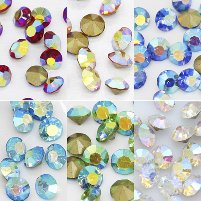 ss12 ss16 ss22 ss27 Color AB pointed Foiled back czech Crystal Nail Art  rhinestone glass strass chaton stone Jewelry making bead 0921ffdc3052