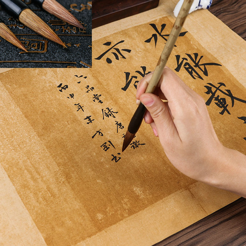 High Quality Large Middle Small Regular Script Soft Calligraphy Brush Pen Set Pure Weasel Hair Stationery Writing Brushes 3pcs pure langhao calligraphy brush all wood lake pen wenfangsibao set