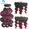 Sapphire Body Wave Remy Human Hair 2 3 Bundles With Lace Frontals 1B 99J Color For