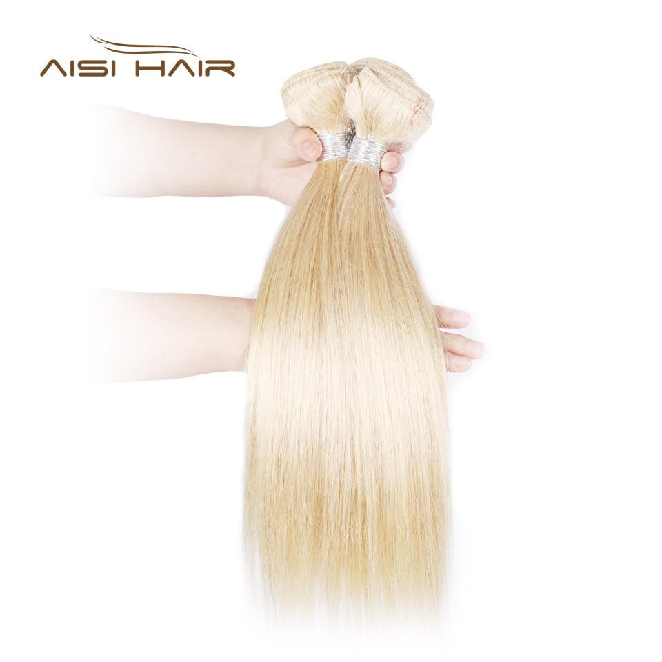 AISI HAIR 613 Blonde Platinum Color Brazilian Hair Weave Bundles Straight Non Remy 100% Human Hair Weave 1PCS