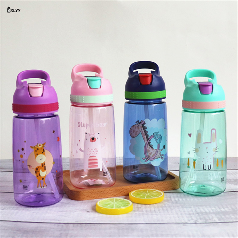 BXLYY 2019 Sports Bottle 450ml Cartoon Straw Bottle Portable Leakproof Plastic Cartoon Children Drink Bottle Sports Shaker.9z image