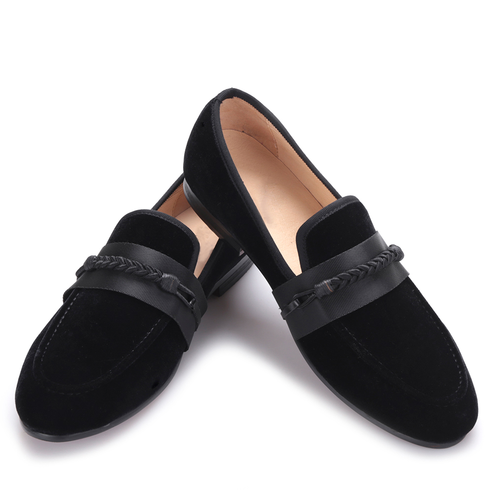 2017 new men velvet shoes with handmade weaving rope Party and wedding men dress shoes men slipper loafers male flats 2017 handsome smoking slipper in black silk with a refined velvet band detail party and wedding men loafers male dress shoes