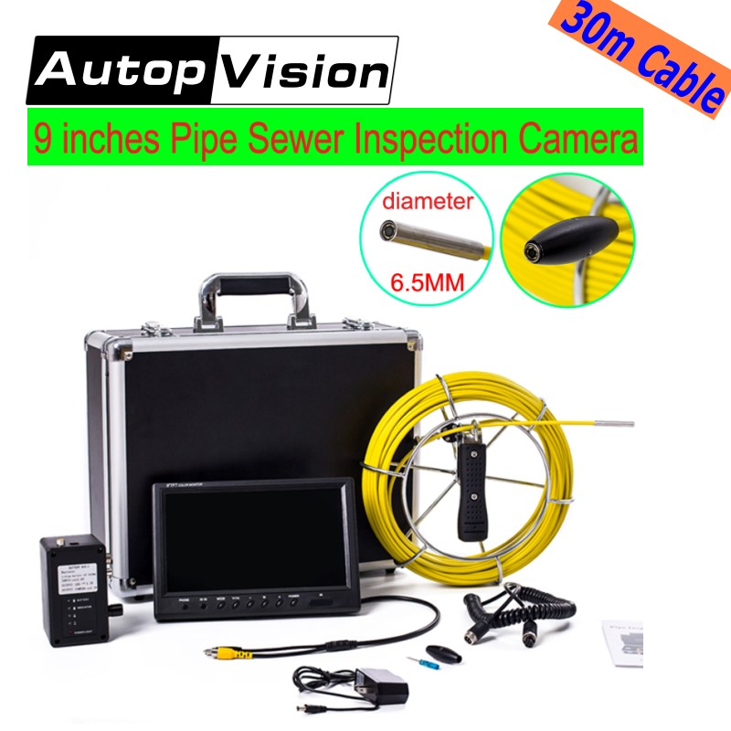 free shipping 30M Drain Sewer Pipe Inspection Camera System 9LCD Screen Video Snake Endoscope Borescope underwater mini Camera wp71 30m cable industrial video snake endoscope borescope camera 7 lcd waterproof pipeline drain sewer inspection camera system