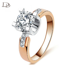 Free Shipping Accessories Rose 585 Gold Color Wedding Ring Crowns New Arrival Round White Crystals Wholesale Rings Women kr015