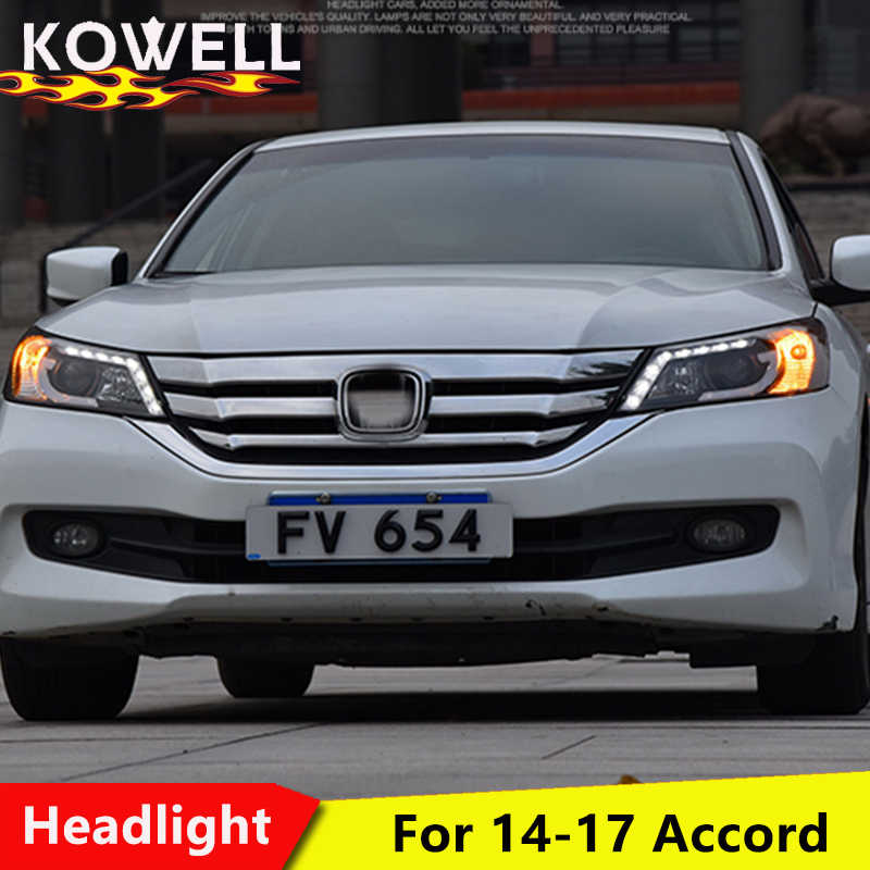 KOWELL car styling for VLAND headlamp for Honda Accord 2014-2015 LED headlight for Accord 9th Gen Bi-Xenon lens plug and play