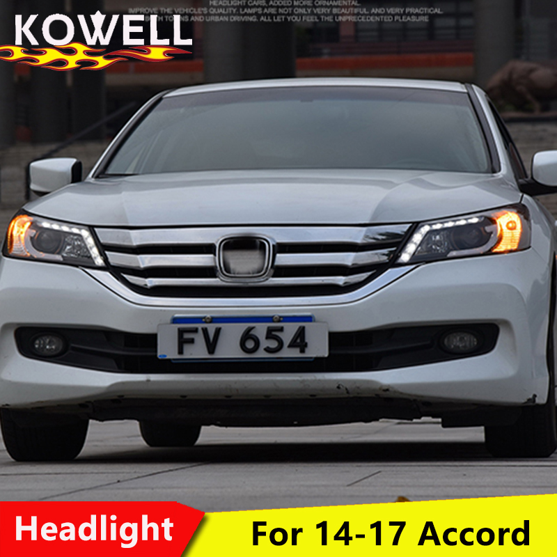 KOWELL car styling for VLAND headlamp for Honda Accord 2014 2015 LED headlight for Accord 9th Gen Bi Xenon lens plug and play-in Car Light Assembly from Automobiles & Motorcycles    1