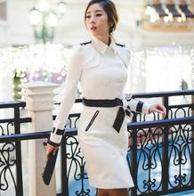 Autumn black white england slim sexy double breasted trench coat for women windbreaker female long trench