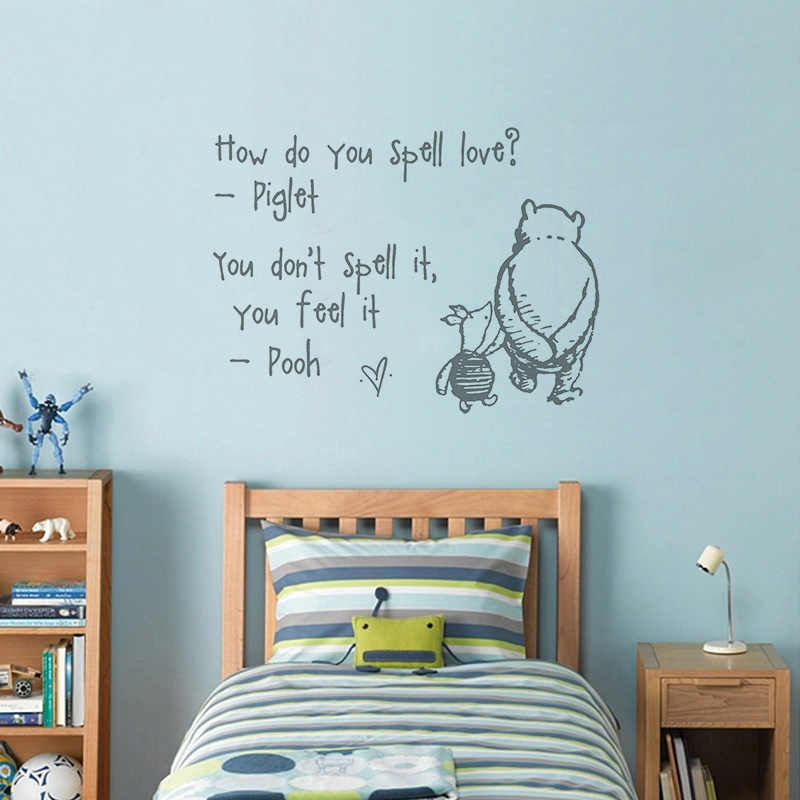 Vinyl Wall Sticker For Kids Room Mural How Do You Spell Love Winnie The Pooh Quote Decal Baby Bedroom Nursery Decor Poster W038