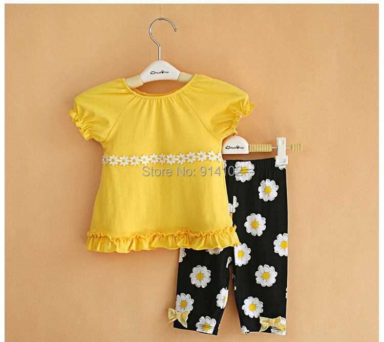High Quality 2017 Floral Summer Baby Girls Clothing Sets Yellow shirt & Pants Toddler 2 Piece Suit Kids Girl Clothes new 2016 girls high quality denim jacket clothing sets 3pcs kids clothes sets girls lace shirt baby girl clothing sets