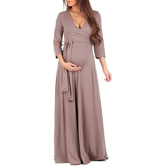 7bd4591fd83 Autumn Long Dresses Maternity Clothes For Pregnant Women Dress Solid V-neck Pregnancy  Dresses Vestidos Mother Wear Clothing