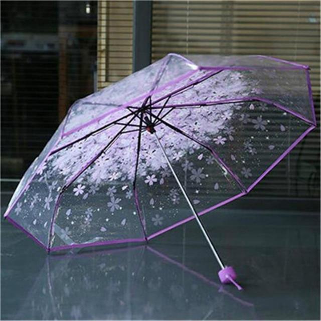 1pc three Fold Umbrella Women Transparent Clear Cherry Blossom Mushroom Apollo Sakura folding Sunshade Rain Umbrella 2018