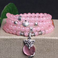New Pink 6mm Crystal Stone 108 Buddhist Prayer Beads Bracelet Silver Plated Fox head Pendant For Women Jewelry Bangles wholesale blue natural crystal bracelets 6mm beads with pink magnolia flower pendant crystal bracelet for women fresh jewelry