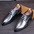Hombres Pisos de Charol zapatos de Vestir Punta estrecha de Negocios Oxford zapatos de Moda Masculina Mocasines 022