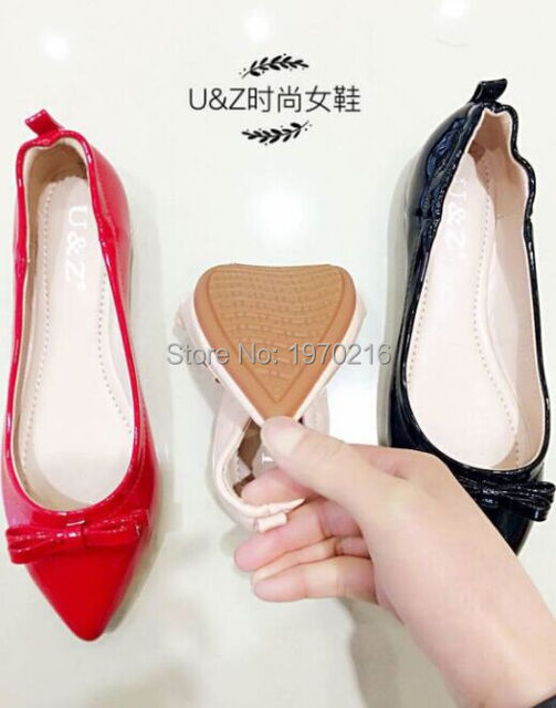 Fashion U&Z brand women pointy toe ballet flats lovely bow(Red/Black/White/Nude),Sexy slip on flats Genuine leather office shoes