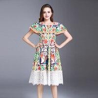 New Arrival 2018 Spring Summer Fashion Women Designer Tile Print Dress Cute Off Shoulder Patchwork White