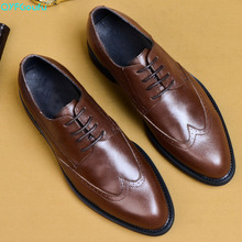 QYFCIOUFU 2019 Brogue Formal Shoes Men Cow Leather Dress Shoes Genuine Retro Pointed Toe Oxford Male Footwear Lace-up US 11.5