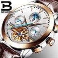 94ccefdbe3c De luxo Da Marca Suíça BINGER Homens relógio masculino Auto-vento de aço  inoxidável à prova d  água mecânico automático Turbilhão de ouro da moda