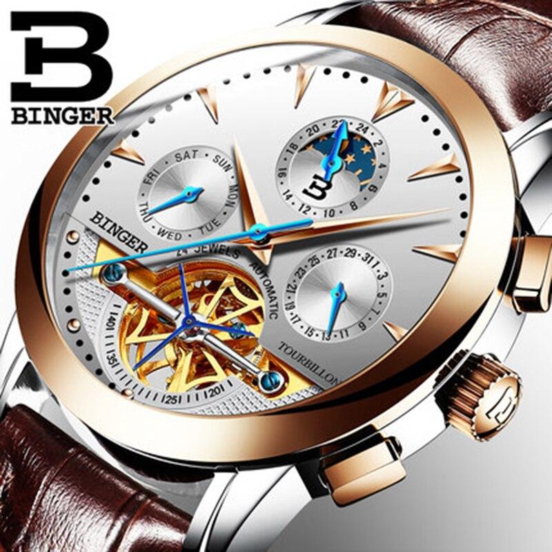 Genuine Luxury Switzerland BINGER Brand Men Self-wind waterproof full steel automatic mechanical male fashion Tourbillon watch недорго, оригинальная цена