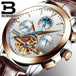 Luxury Switzerland BINGER Brand Men watch male Self-wind waterproof stainless steel automatic mechanical gold fashion Tourbillon