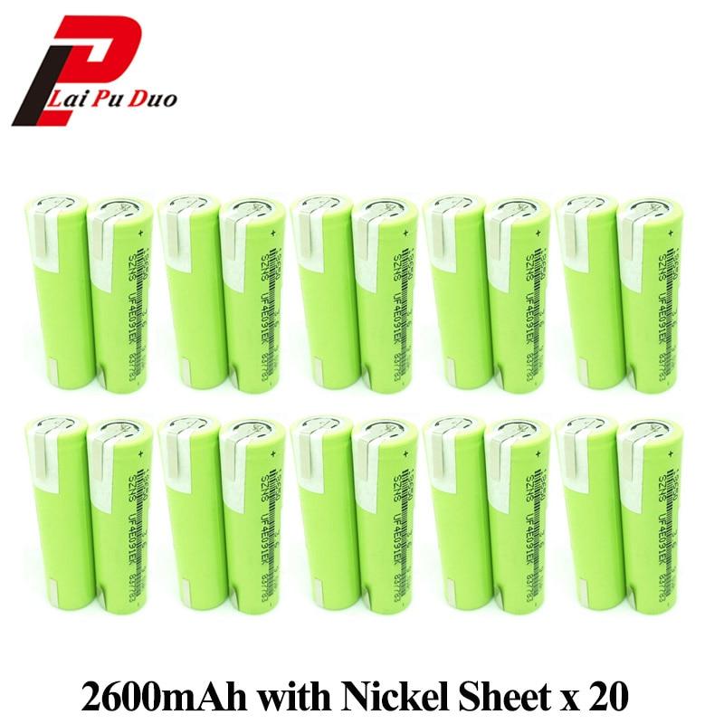 18650 Bateria 3.6 V 2600 mAh ICR18650 Baterias Recarregáveis Replacemnet para Banco de Potência Portátil com Folha de Níquel