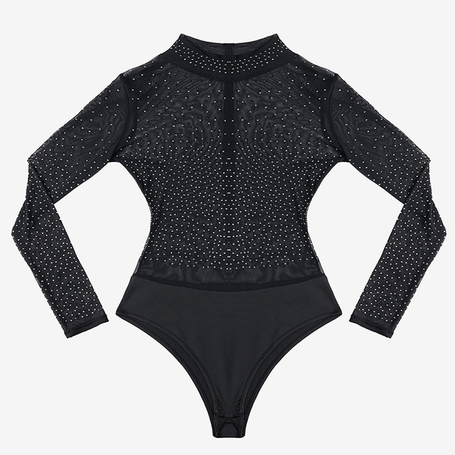 SEBOWEL 2020 Party Sexy Bodysuit Woman Long Sleeve Black Mesh Silver Studded Mock Neck Bodysuits New Spring Female Body Clothes